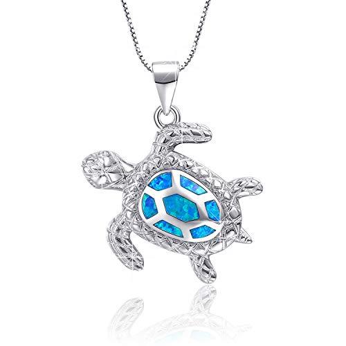 Blue Opal Sea Turtle Anhänger Sterling Silber Schmuck für Frauen Geschenke