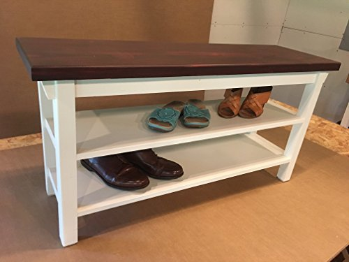Hallway Mud Room Foyer Bench 34 Inch Increased 16 Inch Width with Two Shoe Shelves