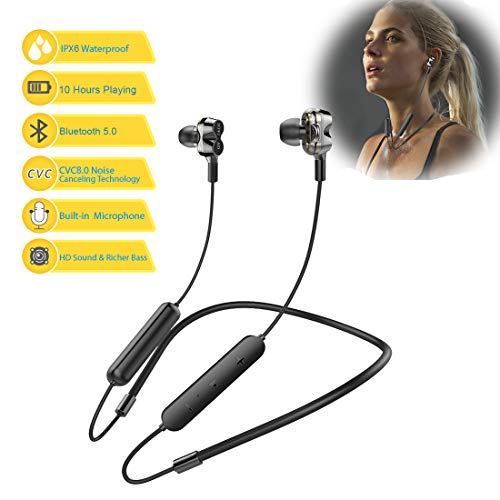 Bluetooth Headphones 5.0 Wireless Earbuds IPX6 Waterproof Quad Drivers HiFi with Stereo Bass, 10 Hours Play Time,Noise Cancelling Sweatproof Sport in-Ear Earphones for Running Workout Gym