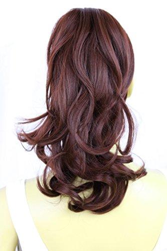 PRETTYSHOP 30cm Haarteil Zopf Pferdeschwanz Haarverlängerung Voluminös Gewellt Dunkelrot H106