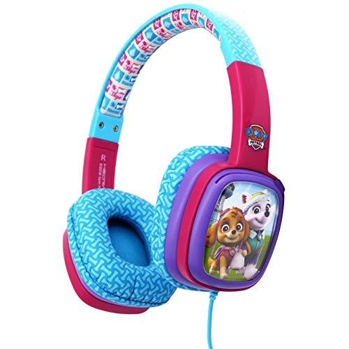 Hedrave gelicentieerde Paw Patrol hoofdtelefoon voor meisjes vanaf 3 jaar in roze met kindvriendelijke volumebegrenzing en verstelbare hoofdband; verwisselbare decoratiekaarten met Skye & Everest