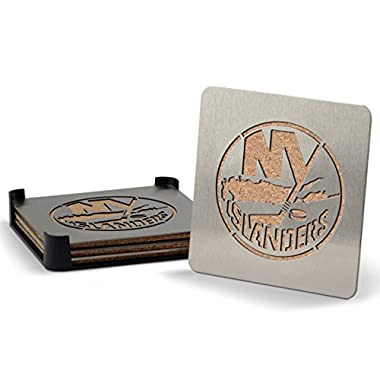 Sportula YouTheFan NHL New York Islanders 4-Piece Stainless Steel Boaster Drink Coaster