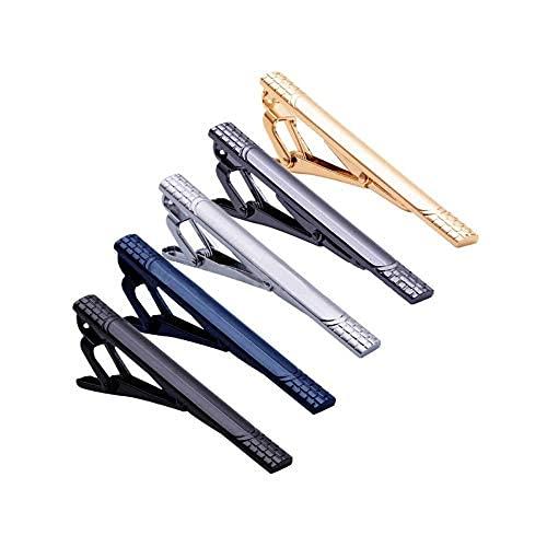 5 clips de corbata para hombres barra de corbata clip conjunto para padre marido lazos regulares corbata boda negocio con caja de regalo