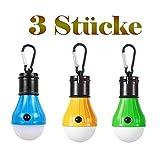 Dieci luci a LED 3 - 6 pezzi, impermeabile portatile lanterna da campeggio lampadina luce di emergenza a funzionamento con moschettone per l'escursionismo pesca caccia alpinismo - 3 modalità