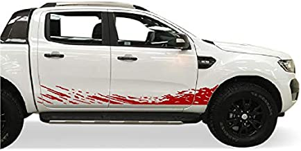 Bubbles Designs Decal Sticker Vinyl Mud Splash Kit Compatible with Ford Ranger 2011-2017 (RED)