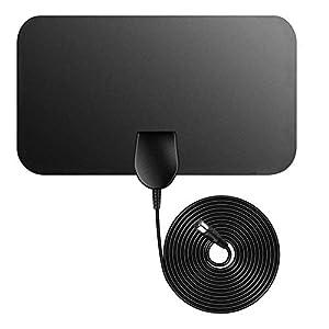 Televisión aérea,Firmrock Antena de TV Cubierta de TDT, 50 Millas Antena de TV Digital amplificada Antena HDTV DVB-T2 de 0.5 mm Ultra Delgada con Cable Largo de 12 pies