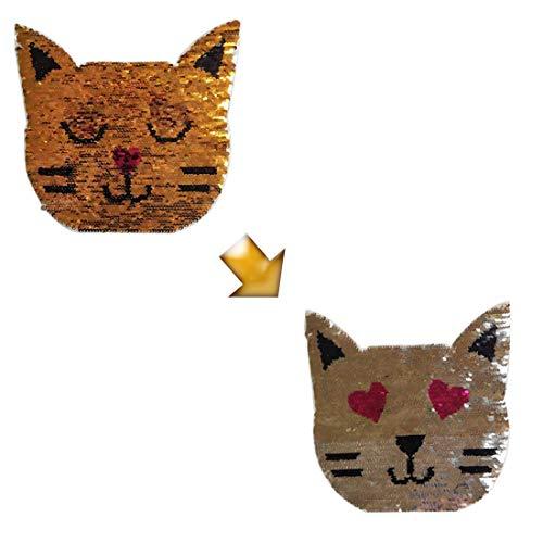 Veränderbare Emoji Katzengesicht Applique Patch, Nähen auf Applique Patch veränderbare Zwei Gesicht Katze Kleidung Logo Zubehör für T-Shirt, Rock, Hose, Hut, Kinder kleiden DIY