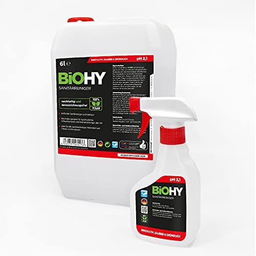 BiOHY Limpiador sanitario (bidón de 6 litros) + botella pulverizadora y grifo | concentrado que descompone la cal para el área sanitaria | Limpiador de baño con aroma agradable y fresco | Extra fuerte