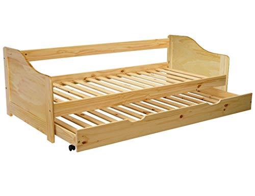 KMH®, Ausziehbett/Jugendbett/Kinderbett/Kojenbett mit ausziehbarem Bettkasten, incl. 2 Lattenroste (200 x 90 cm/Natur) (#201100)