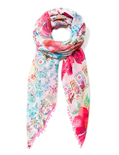 Desigual Damen Rectangle Foulard Geisha Woman White Schal, Weiß (Soybean 1028), One Size (Herstellergröße: U)