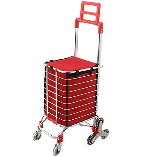 Carrello per la spesa pieghevole per alimenti, in tessuto Oxford impermeabile, per portare le scale e il carrello della spesa portatile, multifunzionale, rosso