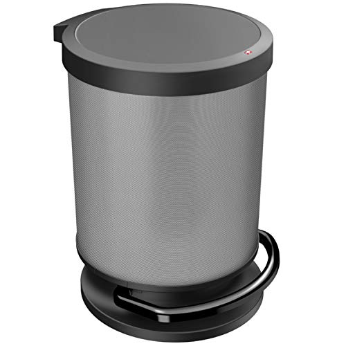 Rotho Paso Poubelle 20l avec Pédale et Couvercle, Plastique (PP) sans BPA, Carbone Métallique, 20l (35,7 x 30,2 x 43,2 cm)