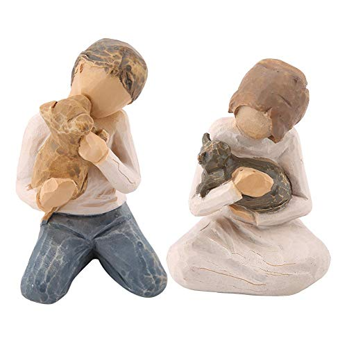 2pcs Man&Woman Hugging Pets Ornaments, Lovely Resin Figurine for Home Office Decoration Gift Idea for Anniversary