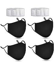 4 stuks Wasbare mondkapje - Mondmasker -Hoogwaardig kwaliteit - winddicht Mondkapje - katoenen Facemask - 3D-maatwerk - creëer een grotere ademruimte-Geschikt voor OV