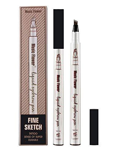 Nuevo lápiz de tatuaje de cejas para ojos, lápiz de maquillaje con aplicador de 4 puntas, mancha impermeable de larga duración 24 horas (negro)