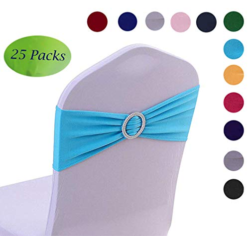 Half Flower Bridal Spandex Chair Band 25 Pcs Sky Blue Spandex Chair Sashes with Buckle Slider Wedding Banquet Party Event Decoration Chair Bows Ties