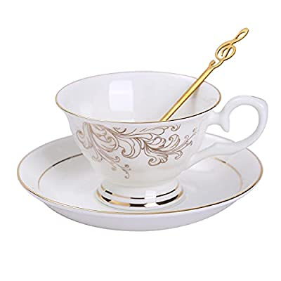 Daveinmic Ceramic Bone china Tea Cup and Saucer Set of One, Coffee Set with Gold Trim,Include One Golden Color Metal Spoon,Porcelain Cup and Saucer,6.5 Ounces (phoenix single cup and saucer)