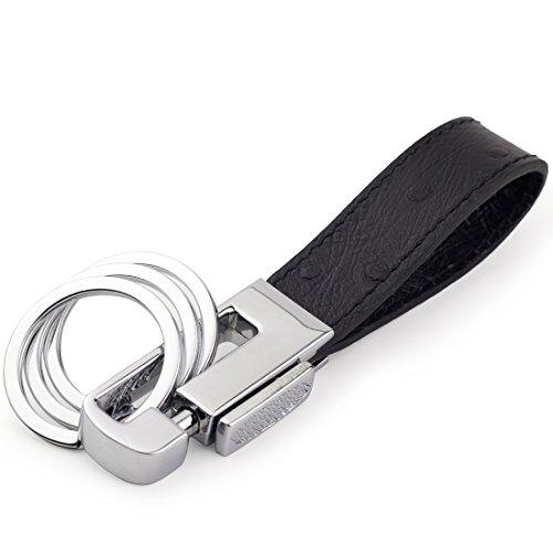 Dpob Portachiavi per parcheggiatore, in pelle di grana di ostrica, lussuoso ed elegante, con 3 anelli per chiavi staccabili, A-Black