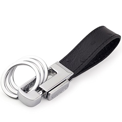 DPOB Luxury Ostrich Grain Leather Valet Keychain, Elegant Designer Key Chain with 3 Detachable Key Rings (Black)