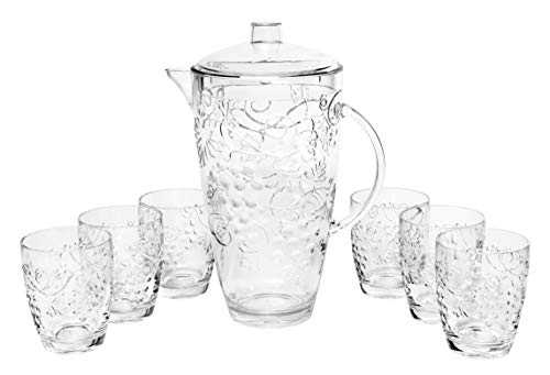 "Break Resistant""Fruits"" Clear Plastic Pitcher with Lid and 6 Tumbler Glasses Set - Perfect for Iced Tea, Sangria, Lemonade (93 fl oz. pitcher - 13 fl oz. glasses)"