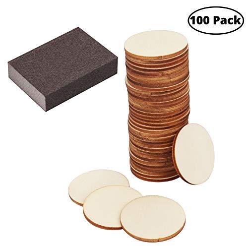 Runde Holzscheiben (100 Pezzi) - 3,5 cm große Holzstammscheiben 2mm dick, unbehandelt mit einem Schleifschwamm - Holzscheiben natürliches Dekor Rund leer als Dekoration, Geschenkanhänger, Schilder