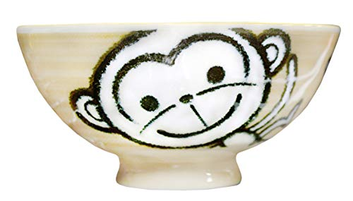 Yellow Baby Monkey Design Japanese Rice Bowl, 4 1/4 Inch
