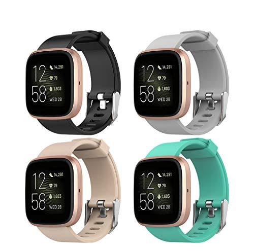 Hianjoo 4 Piezas Correa Compatible con Fit bit Versa 2/ Versa/Versa Lite, Pulsera Banda de Deportes Suave Ajustable Silicona Reemplazo Bracelet, 5.5