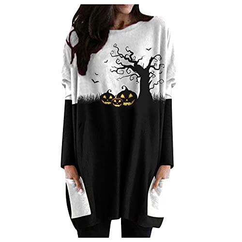 Elegantes Blusas Mujer Largos con Estampados de Halloween Camisas de Mujer Manga Larga Cuello en Redondo Suelto Camisetas Mujer con 2 Bolsillos Tops Basicas Damas para Fiesta