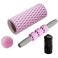 33cmの泡ローラーセットリラックスしたローラースティックヨガの柱ボディーローラー筋肉ローラー筋膜ボール ディープティシューマッサージャー (Color : Pink, Size : 14x33cm)