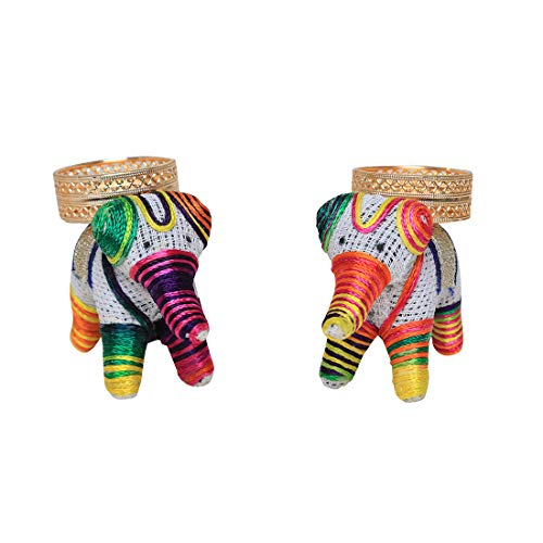 Handcrafted Elephant Tea Light Holder Set of 2 , Lucky Charm Tealight Candle Stand T-Light Holder for Christmas & Festival Decor, Gifts , Decorative Lighting Accessories ( Without Wax ).