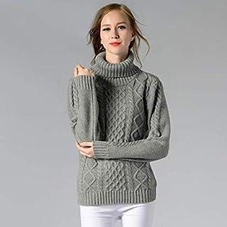 SDJYH suéteres de Cuello Alto para Mujer Cuello Redondo Jersey de Punto Informal Jersey de Manga Larga Tops para Mujer 01