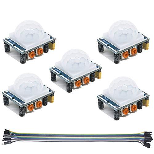 Youmile 5PACK PIR IR Modul HC-SR501 Infrarot PIR Bewegungsmelder Modul Pyroelektrisch für Raspberry Pi Kits Mit Dupont Kabel