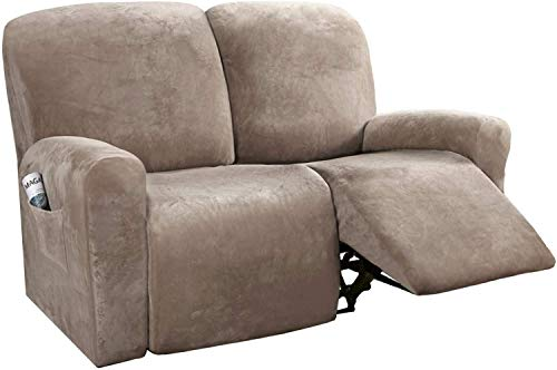 ZHTY Recliner Slipcovers Recliner Cover Sofa Slipcover Sofa Cover 6-Pieces Furniture Protector Couch Rich Velvet Plush Form Fit Stretch Stylish Soft with Elastic Bottom Sofa Cover
