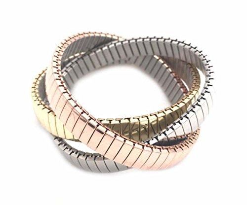 HamptonGems Designer Inspired, Double (2) Band Gold & Silver Omega Stretch Rolling Bracelet (3 Band TRI Color)