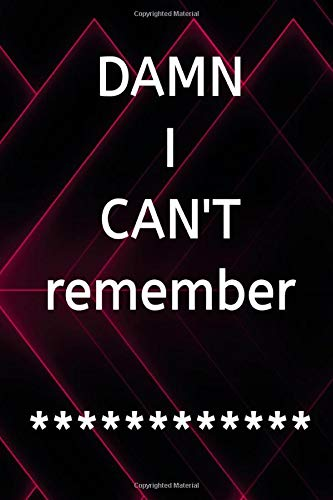 DAMN I CAN\'T Remember: Password Logbook For Senior Size 6 X 9 Inch Glossy Cover Design White Paper Sheet ~ Password - Gift # Keeper 120 Pages Standard Prints.