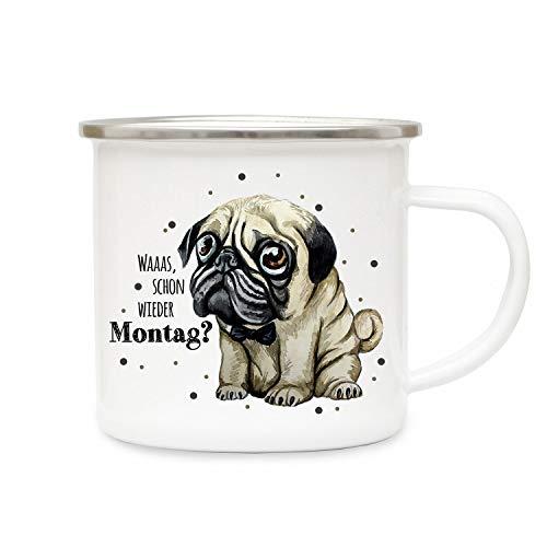 ilka parey wandtattoo-welt Emaille Becher Camping Tasse mit traurigen Mops Hund & Spruch Waaas Wieder Montag Kaffeetasse Geschenk Spruchbecher eb312
