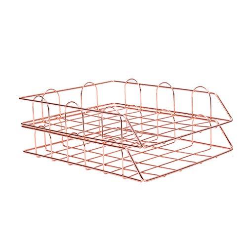 2pcs Aufbewahrungskorb aus Metall, stapelbar, für Schreibtisch, Schreibtisch, Ablagefach, Briefablage, Aufbewahrung von Dokumenten (Roségold)