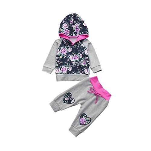 Ropa Bebe Niña Invierno Otoño Fossen Recién Nacido Niña Sudaderas con Capucha y Pantalones de Floral corazón Conjuntos Bebe Niña 0-24 Meses (24 Meses, Gris)