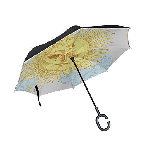 Double Layer Inverted Folding Tischschirm Blazing Dazzling Sun Large Inverted Umbrella Taschenschirme Compact Lightweight Windproof UV-Schutz für Regen Mit C-förmigen Griff