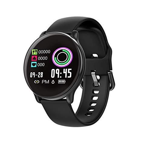 SmartWatch com Monitor Cardíaco, Monitor de Sono e Pressão Sanguínea para iOS e Android,preto/Tiras de silicone