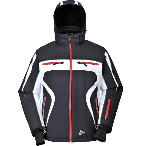 Cox Swain Titanium Herren Ski-/Snowboard Funktionsjacke Finley RECCO 15.000mm, Colour: Black/White - red Zipper, Size: L