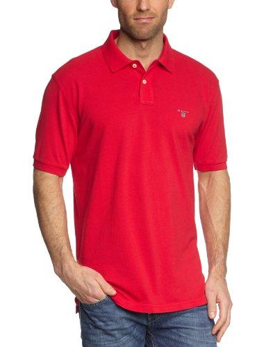 GANT Herren Poloshirt SOLID PIQUE SS RUGGER, Gr. S, Rot (Bright Red)