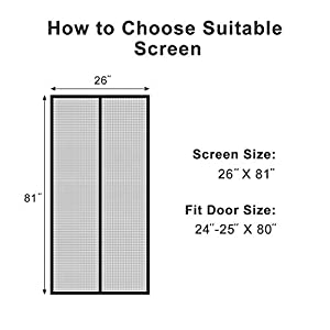 French Screen Doors, Advanced MAGZO Magnetic Heavy Duty Mesh Fit Your Door Size 34W X 79H Inch with Full Frame Velcro Privacy Insect Fly Screen Mesh(36 X 80 Inch, Gray)