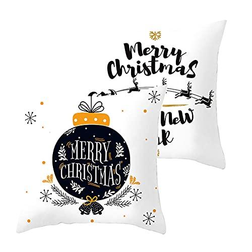 2 pcs Fundas de Cojín Decorativos Navidad Cuadradas Terciopelo Suave Funda de Almohada Cubierta para Cojines Sofá Sala de Estar Dormitorio Habitación Decor Throw Pillow Case J5135 Pillowcase_50x50cm