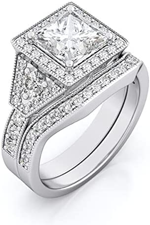 3 TCW Sterling Silver Tampa Mall Engagement Rings Princess Cut For Limited price We Women