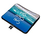 Sun Sand Sea Tropical Beach Turquoise Water 15 Inch Neoprene Laptop Sleeve Carrying Computer Case for Laptop Ultraportable Dell HP Samsung Ultrabook