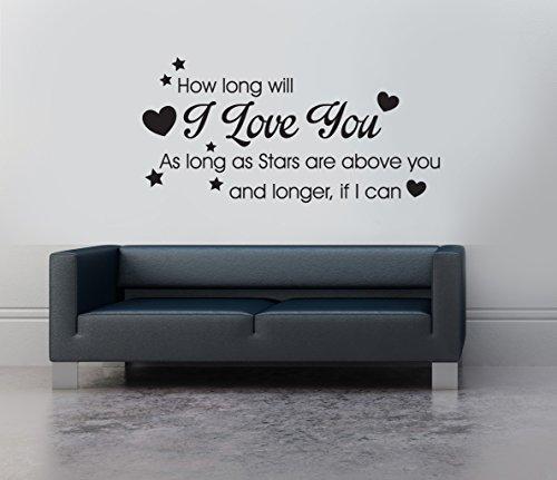 Wie Lange Wird ich Liebe sie Ellie Goulding Vinyl Wall Art Lied Zitat Aufkleber Wandbild Aufkleber Wand Transfer Schablone, Vinyl, schwarz, 100 x 55
