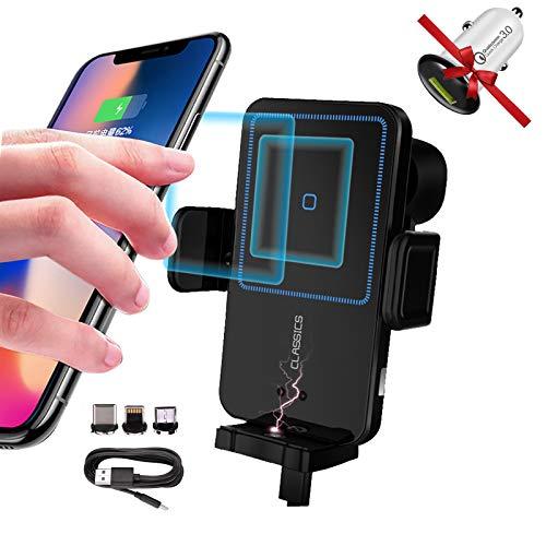 Cargador de coche inalámbrico, 15 W Qi de carga rápida cargador de coche fuerte soporte magnético de montaje de ventilación de aire compatible con iPhone 11/11 Pro/11 Pro Max/XR/XS/X/8
