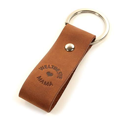 Für die Weltbeste Mama, Leder Schlüsselanhänger mit Gravur, Mitgebsel, Geschenk für die Beste Mutter, Mama, Liebe, Frau, Kinder - tolle Haptik - Geschenkbox