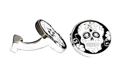 magdalena r. Totenkopf Manschettenknöpfe Skulls rund schwarz Weiss silbern + Hellen Kristallsteinen + schwarzer Exklusivbox